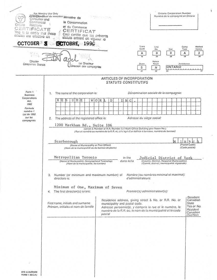 view corporation registration - Canadian Sample Resume